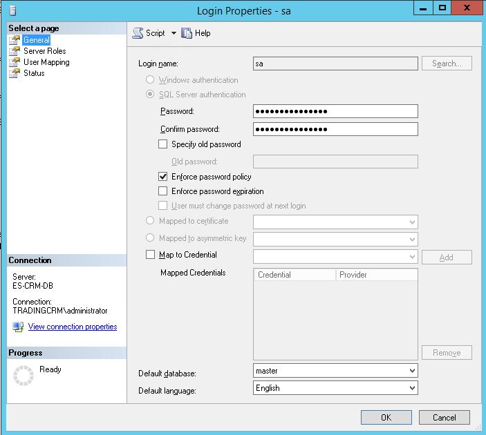 SQL Server Login Properties Default database
