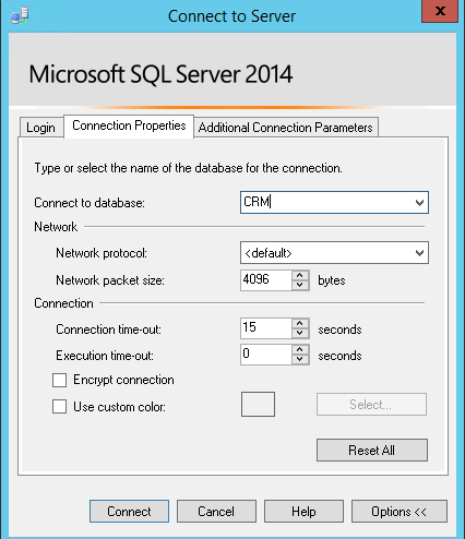 SSMS 2014 Connect to database